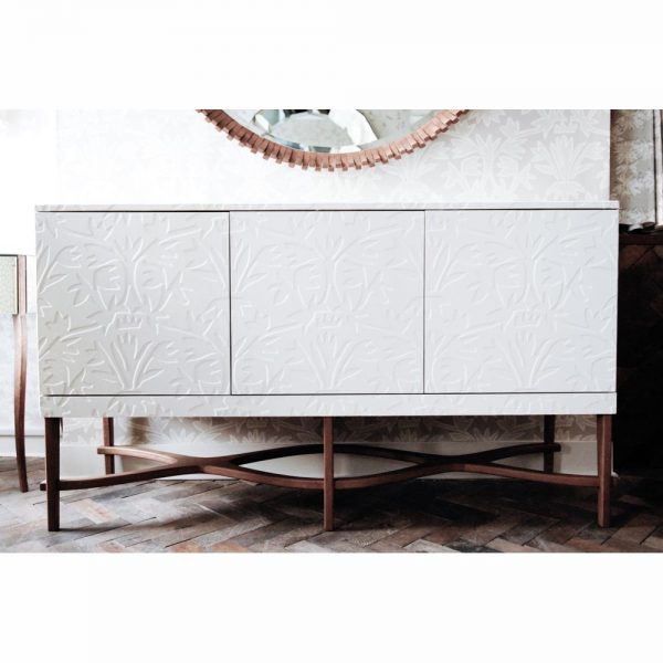 Hand made furniture printed glass mirror gesso hand printed wallpaper hand printed fabric