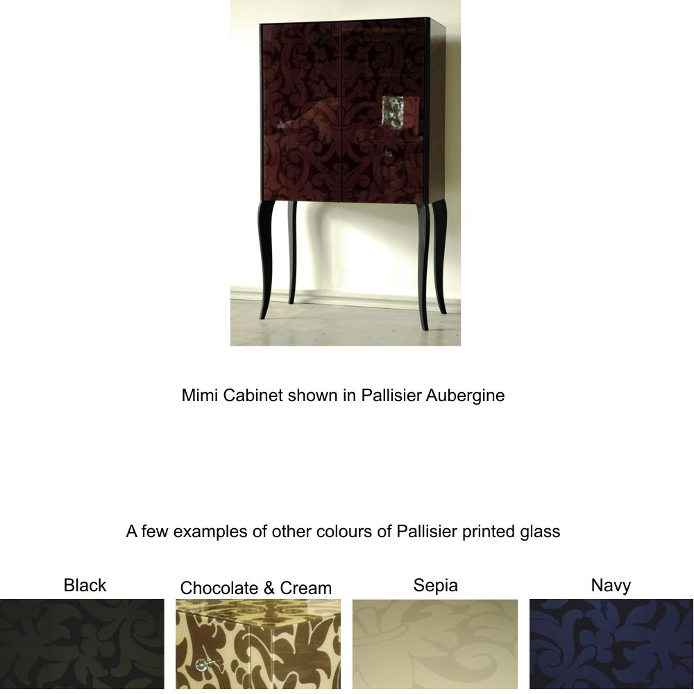 hand made furniture in printed glass