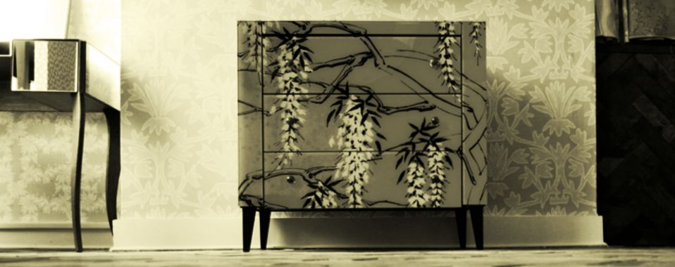 Hand made furniture printed glass mirror hand printed wallpaper hand printed fabric